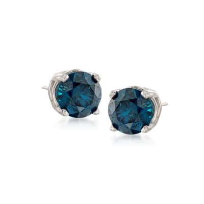 .50 ct. t.w. Blue Diamond Stud Earrings in 14kt White Gold