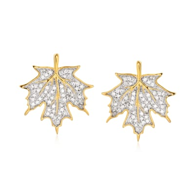 .20 ct. t.w. Diamond Maple Leave Earrings in 18kt Gold Over Sterling