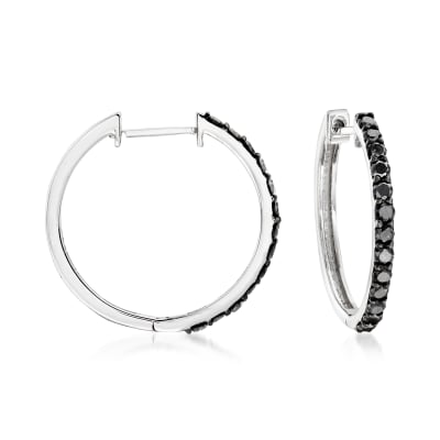 .50 ct. t.w. Black Diamond Hoop Earrings in 14kt White Gold