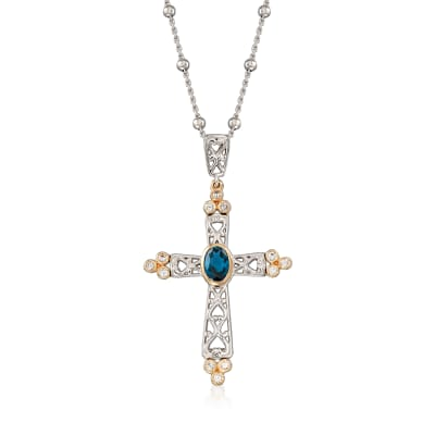 .90 Carat London Blue Topaz and .40 ct. t.w. White Zircon Cross Pendant Necklace in Sterling Silver with 14kt Yellow Gold