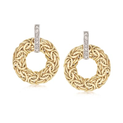 14kt Yellow Gold Byzantine Circle Drop Earrings with Diamond Accents