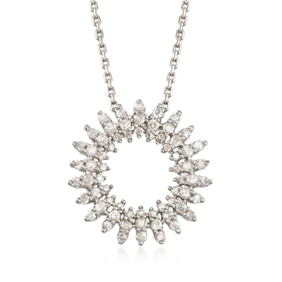.50 ct. t.w. Diamond Open Circle Pendant Necklace in Sterling Silver