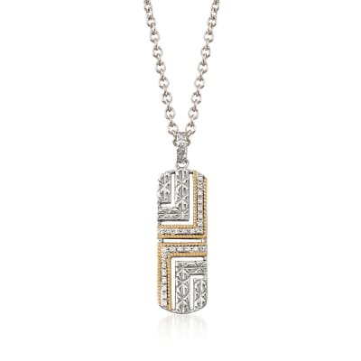 "Andrea Candela ""Laberinto"" .14 ct. t.w. Diamond Drop Necklace in 18kt Gold and Sterling Silver"