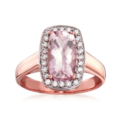 1.90 Carat Morganite and .24 ct. t.w. Diamond Ring in 14kt Rose Gold