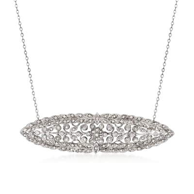 C. 1980 Vintage 1.15 ct. t.w. Diamond Filigree Pendant Necklace in 14kt White Gold