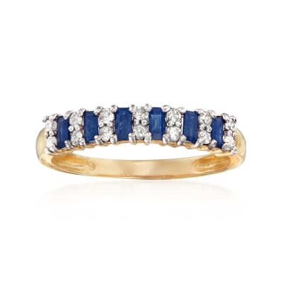 .40 ct. t.w. Sapphire and .21 ct. t.w. Diamond Ring in 14kt Yellow Gold