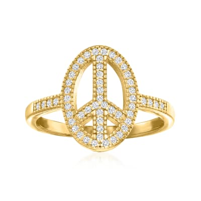 .27 ct. t.w. CZ Peace Sign Ring in 18kt Gold Over Sterling