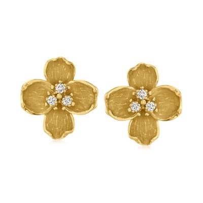 C. 1980 Vintage .30 ct. t.w. Diamond Flower Earrings in 18kt Yellow Gold