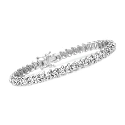 2.00 ct. t.w. Diamond Bar Bracelet in Sterling Silver