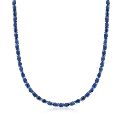 40.00 ct. t.w. Sapphire Tennis Necklace in Sterling Silver