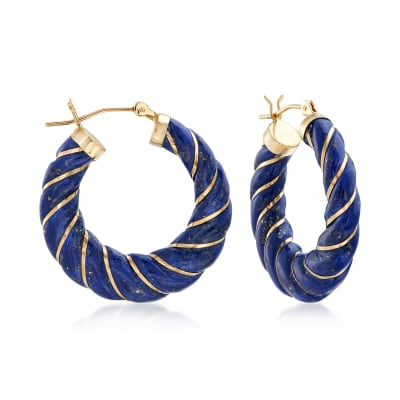 Carved Lapis Hoop Earrings with 14kt Yellow Gold