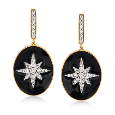 .50 ct. t.w. Diamond and Black Enamel Starburst Drop Earrings in 18kt Gold Over Sterling
