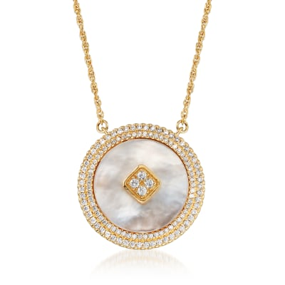 Mother-Of-Pearl and .46 ct. t.w. CZ Necklace in 18kt Gold Over Sterling