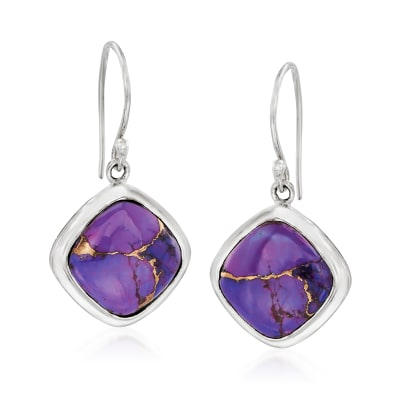 Kingman Purple Copper Turquoise Drop Earrings in Sterling Silver