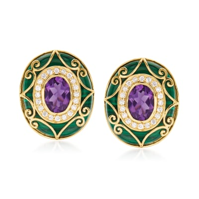 2.20 ct. t.w. Amethyst and .28 ct. t.w. Diamond Scrollwork Earrings with Malachite in 14kt Yellow Gold