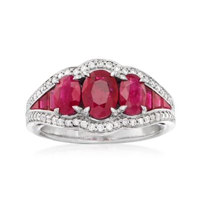 4.27 ct. t.w. Ruby and .33 ct. t.w. Diamond Ring in 14kt White Gold