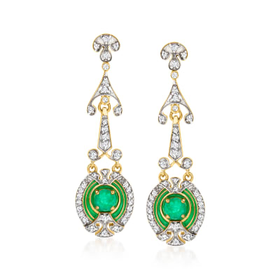 1.10 ct. t.w. Emerald and 1.00 ct. t.w. White Zircon Drop Earrings with Green Enamel in 18kt Gold Over Sterling
