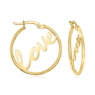 "14kt Yellow Gold ""Love"" Hoop Earrings"