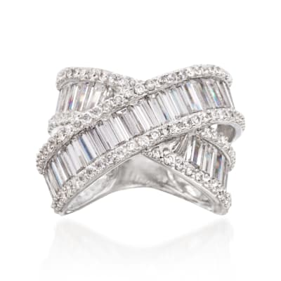 5.60 Baguette and Round CZ Crisscross Ring in Sterling Silver