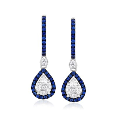 .53 ct. t.w. Diamond and .50 ct. t.w. Sapphire Hoop Drop Earrings in 18kt White Gold