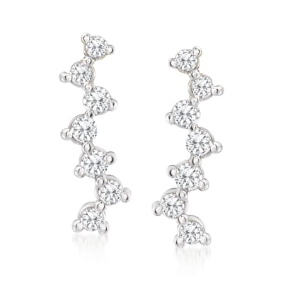 .20 ct. t.w. Diamond Ear Climbers in 14kt White Gold