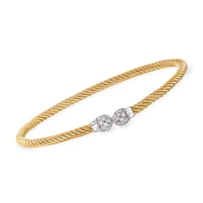 "Phillip Gavriel ""Italian Cable"" .28 ct. t.w. Diamond Cuff Bracelet in 14kt Two-Tone Gold"