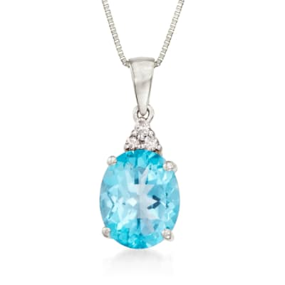 2.60 Carat Topaz Necklace with Diamond Accents in 14kt White Gold