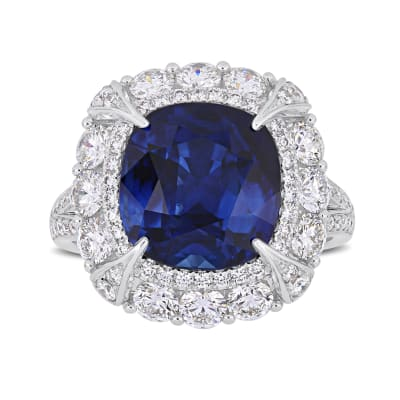 7.10 Carat Sapphire and 1.73 ct. t.w. Diamond Cocktail Ring in 14kt White Gold