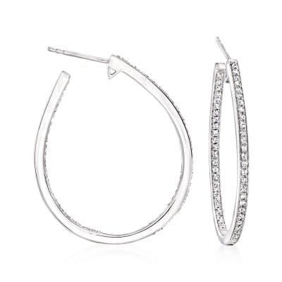 .50 ct. t.w. Diamond Inside-Outside Teardrop Hoop Earrings in Sterling Silver