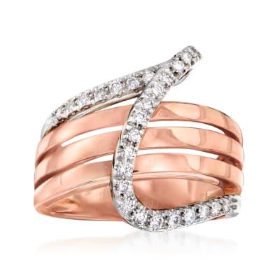 C. 1990 Vintage Bucherer .39 ct. t.w. Diamond Swirl Ring in 18kt Two-Tone Gold