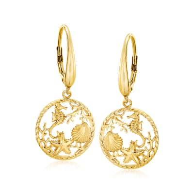18kt Yellow Gold Over Sterling Silver Sea Life Drop Earrings