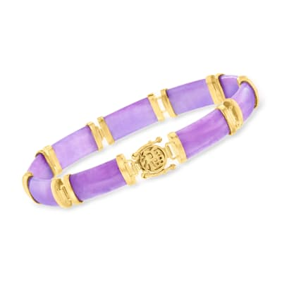 "Purple Jade ""Good Fortune"" Bracelet in 18kt Gold Over Sterling"