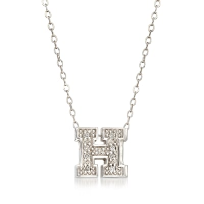 """C. 2000 Vintage Alex Woo University """"H"""" Diamond-Accented Necklace in 14kt White Gold"""