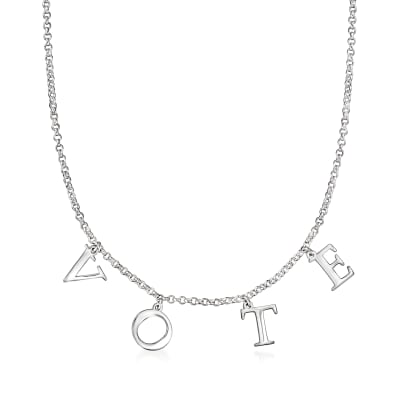 "Sterling Silver ""Vote"" Charm Necklace"