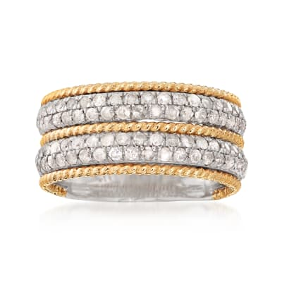 1.00 ct. t.w. Diamond Ring in Sterling Silver with 14kt Yellow Gold