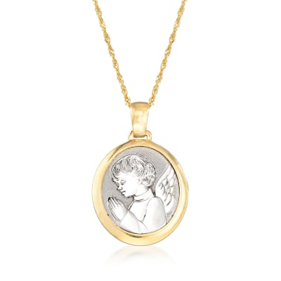 Italian 14kt Two-Tone Gold Guardian Angel Adjustable Pendant Necklace