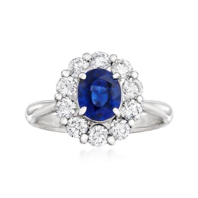 C. 1990 Vintage 1.13 Carat Sapphire and .74 ct. t.w. Diamond Ring in Platinum