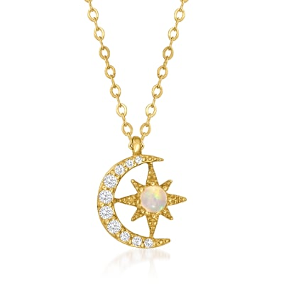 Opal and .13 ct. t.w. Diamond Celestial Pendant Necklace in 14kt Yellow Gold