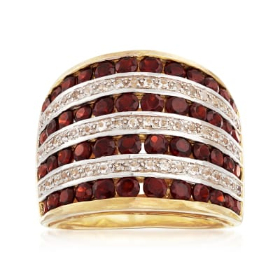 2.70 ct. t.w. Garnet and .20 ct. t.w. White Topaz Multi-Row Ring in 18kt Gold Over Sterling