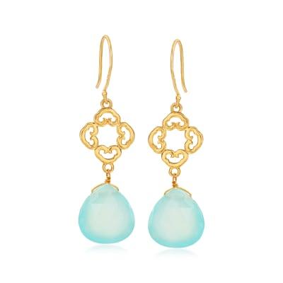 Blue Chalcedony Openwork Drop Earrings in 18kt Gold Over Sterling