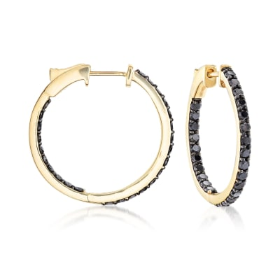 2.00 ct. t.w. Black Diamond Inside-Outside Hoop Earrings in 14kt Yellow Gold