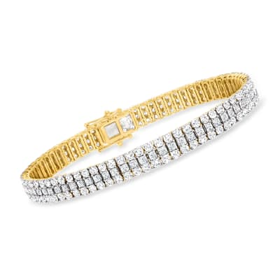 10.00 ct. t.w. Triple-Row Diamond Bracelet in 14kt Yellow Gold