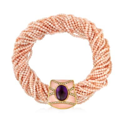 C. 1960 Vintage Coral, 27.00 Carat Amethyst and 1.25 ct. t.w. Diamond Necklace in 18kt Yellow Gold