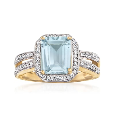 1.60 Carat Aquamarine and .26 ct. t.w. Diamond Ring in 14kt Yellow Gold