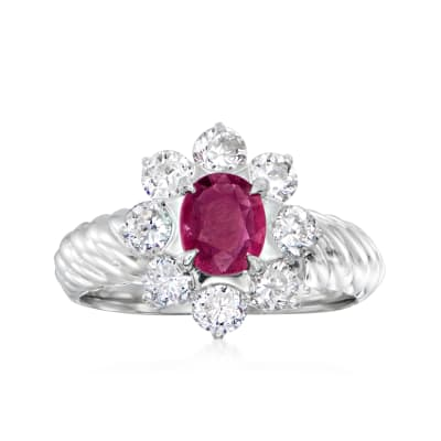 C. 2000 Vintage .58 Carat Ruby Ring with .96 ct. t.w. Diamonds in Platinum