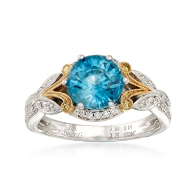 2.99 Carat Blue Zircon and .23 ct. t.w. Diamond Ring in 18kt Two-Tone Gold