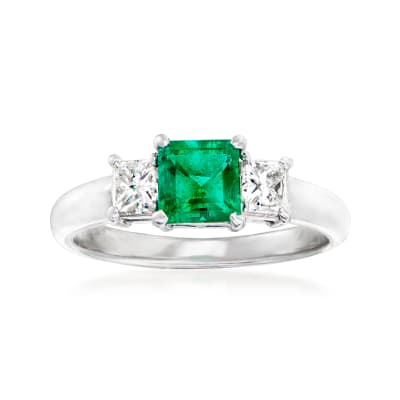 C. 1990 Vintage .58 Carat Emerald and .40 ct. t.w. Diamond Ring in Platinum