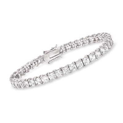 16.00 ct. t.w. Princess-Cut CZ Tennis Bracelet in Sterling Silver