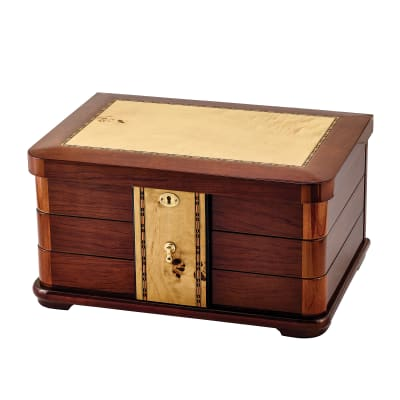 Mapa Burlwood Veneer Locking Jewelry Box