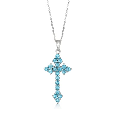2.20 ct. t.w. Swiss Blue Topaz Cross Pendant Necklace in Sterling Silver